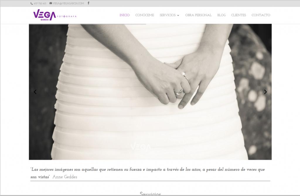 web de fotografía, página de inicio